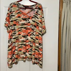 Orange, black, and tan camouflage top